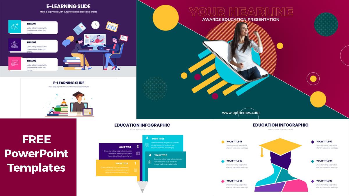plantilla de powerpoint presentación para educación en línea