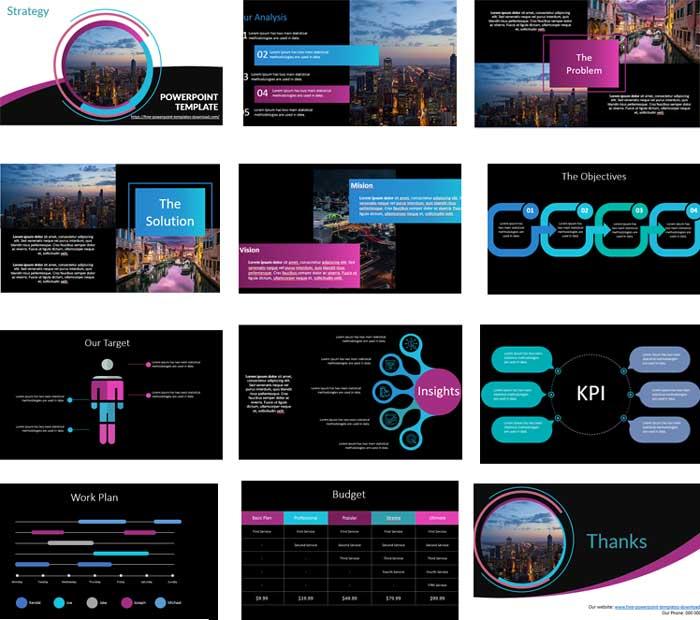 Pantallazos plantilla de powerpoint gratis estrategia de negocios