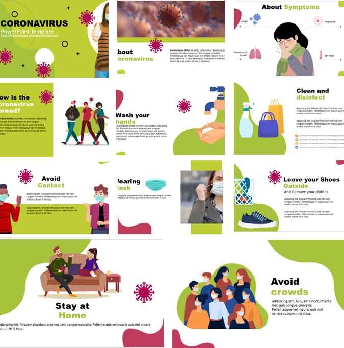 Pantallazos plantilla de powerpoint gratis sobre coronavirus covid 19