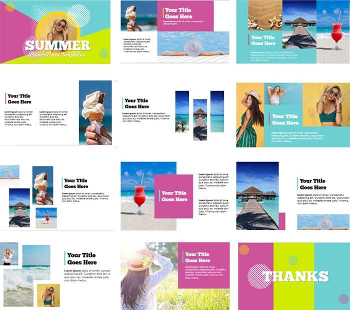 Pantallazos plantillas de PowerPoint gratis verano