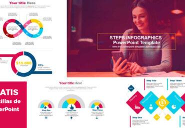Plantillas de PowerPoint con Infografías de pasos