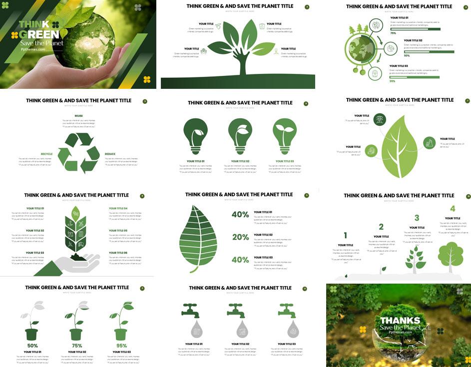 Previsualización de Plantilla de Powerpoint - Piensa Verde
