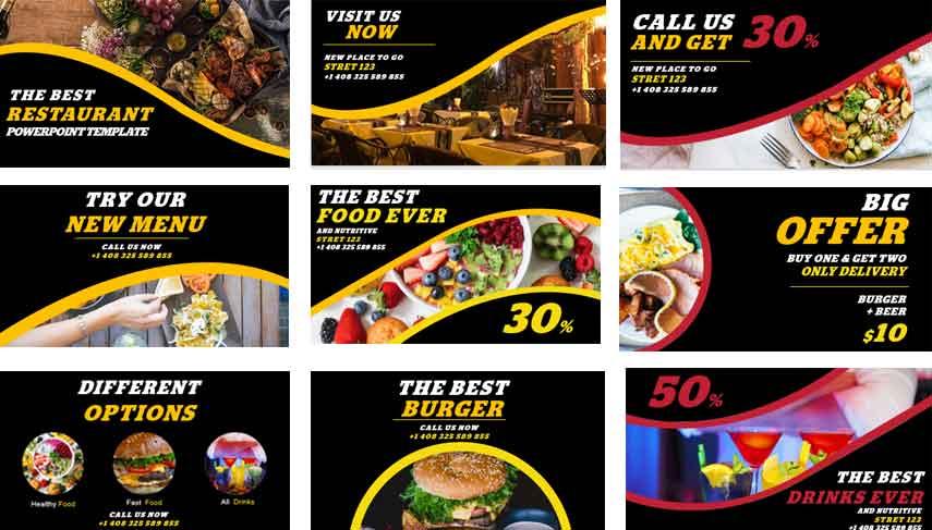 Previsualización de Plantillas de PowerPoint Gratis para restaurantes