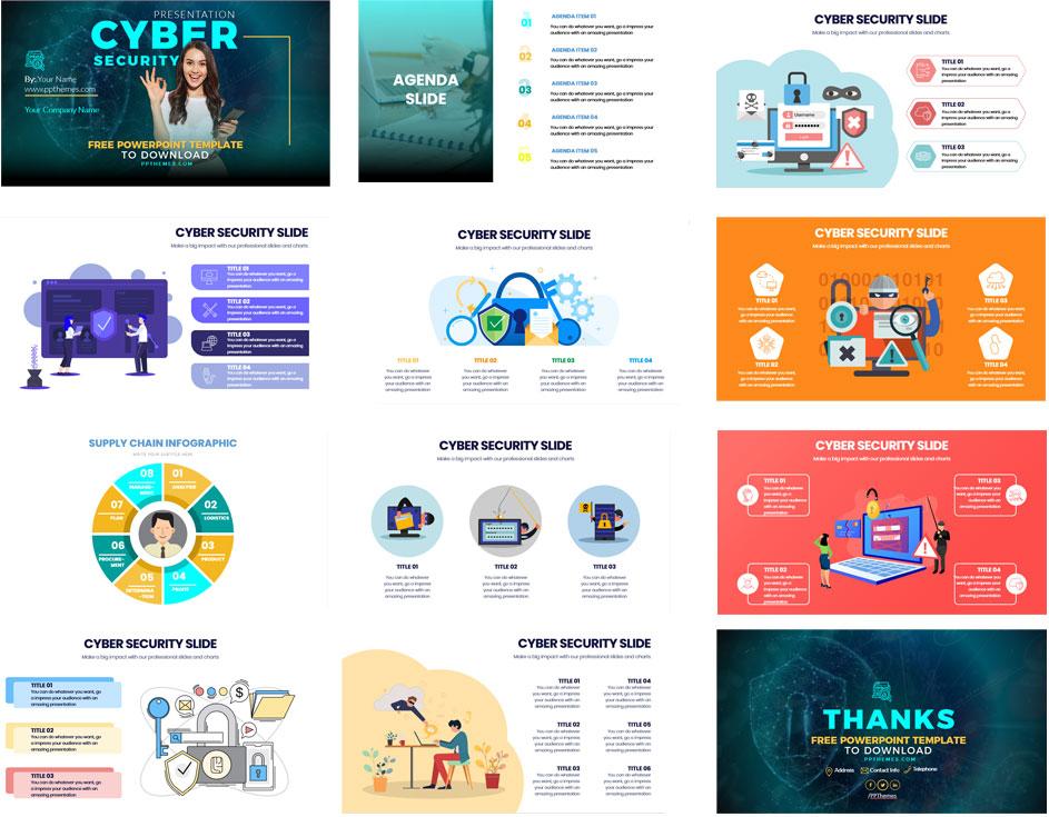 Plantilla Gratis de powerPoint sobre ciberseguridad